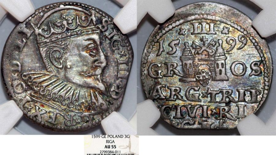 World Coins - Poland. Riga. Sigismund III (1587-1632). Silver 3 Gross - Trojak 1599. NGC AU55