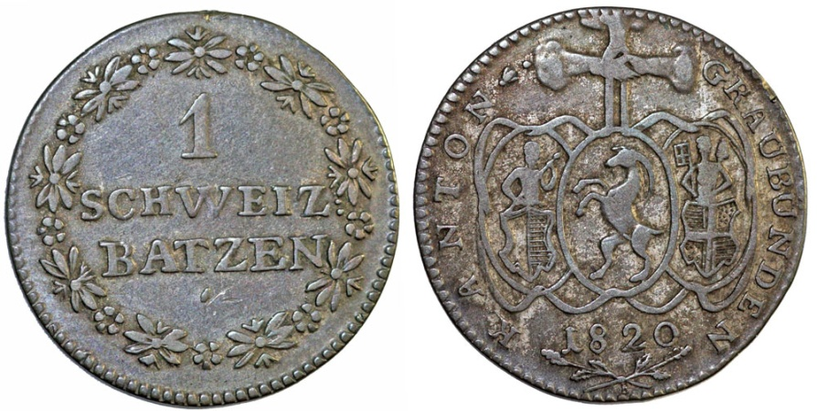 World Coins - Switzerland. Swiss cantons. Graubunten. AR Batz 1820. Bold VF, toned.