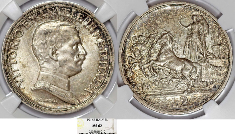 World Coins - Italy. Kingdom. Vittorio Emanuele III (1900-1946). AR 2 Lire 1916 R. NGC MS62, toned