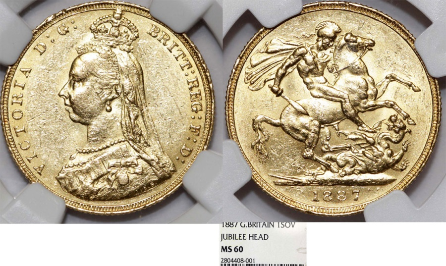 Great Britain  Queen Victoria (1837-1901) Gold Sovereign 1887  NGC MS60