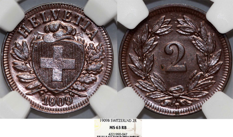 World Coins - Switzerland. Federation issue. AE 2 Rappen 1909 B. NGC MS63 RB
