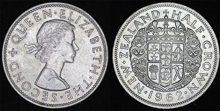 World Coins - New Zealand. Elizabeth II. AR Half Crown 1962. XF+/AU