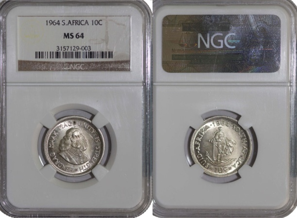 World Coins - South Africa. AR 10 Cents 1964. NGC MS 64