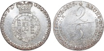 World Coins - GERMANY, Braunschweig-Lüneburg. George III. King of Britain, 1760-1814. AR 2/3 Taler 1807 GM. Choice AU