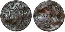 World Coins - Swiss Cantons. Schwyz. Cu 2 Rappens 1846. Fine+