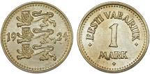 World Coins - Estonia. Republic. NI-AE 1 Marka 1924. UNC