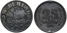 World Coins - Netherlands. WWII coinage. Zinc 25 Cents 1941. XF