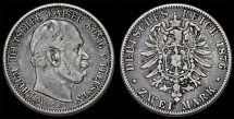World Coins - Germany. Empire. Prussia. Wilhelm I (1871-1888). Silver 2 Mark 1876 C. Choice VF