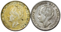 World Coins - Netherlands: Lot of 2 Silver Coins: 1 Gulden 1923-1944. XF