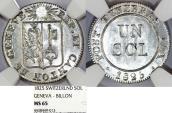 World Coins - Swiss Cantons. City of Geneva. Bi 1 Sol 1825. NGC MS65, TOP GRADE!