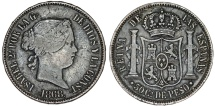 World Coins - Phillipines as Spanish Colony.  Isabell II.  AR 50 Centavo 1868. Nice VF