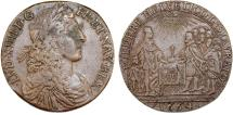 World Coins - FRANCE, Royal. Louis XIV (1643–1715). Ae Jeton 1664. Commemorating alliance with the Swiss. VF