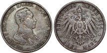 World Coins - Germany Empire. Prussia. Wilhelm II (1888-1918). Silver 3 Mark 1914 A. Toned  VF