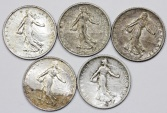 World Coins - France. III Republic. Lot of 5 Silver Coins Franc 1915-1918. XF/AU