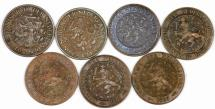 World Coins - Netherlands. Lot of 7 coins 2 1/2 Cents 1880-1918. VF- XF