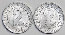 World Coins - Austria. Lot of 2 Coins: 2 Groschen 1952,1954. UNC.