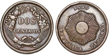 World Coins - Peru. CU 2 Centavos 1895W. VF