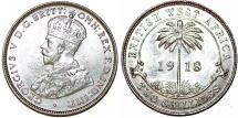 British West Africa. George V. AR 2 Shillings 1918. Choice AU