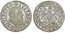World Coins - Duchy of Prussia (Ex-Teutons State). Albrecht von Hohenzollern (1525-1568) Silver Gross 1542. Choice VF