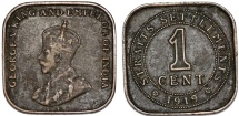 World Coins - British Colony: Straits Settlements. King George V. Square 1 Cent 1919. VF