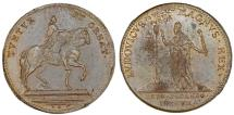 """World Coins - France. Luis XVII. Cu Jeton 1780's  """"States of Languedoc"""". XF, spot"""