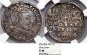 World Coins - Lithuania. G-Duke Sigismund III (1587-1632). Silver 3 Gross 1594. NGC XF40.