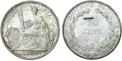 World Coins - French Indo-China. Colonial Issue. Silver 20 Cents 1937. Choice AU/UNC