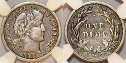Us Coins - USA. Silver Barber Dimes 1895-O. NGC F12, RARE