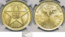 World Coins - Congo. Crown of Belgium. (Ruanda/Burundi Region) under U.N. Admin. 5 Francs 1952. NGC MS64