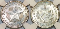 World Coins - Cuba. Republic. Silver 10 Centavos 1949. NGC MS64