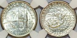 World Coins - Cuba. Republic. Comemorative Silver 10 Centavos 1952. NGC MS64