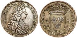 World Coins - Sweden. King Carl IX (1660-1697). Silver 4 Mark 1692 AS. VF/VF+, toned