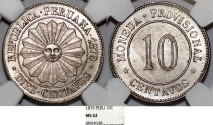 World Coins - Peru. Provisional Government. CU-NI 10 Centavos 1879. NGC MS62