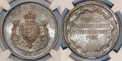 World Coins - Norway. King Haakon VII. AR 2 Kroner 1907. Independence. NGC MS64, NICE!