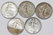 World Coins - France. III Republic. Lot of 5 Silver Coins Franc 1915-1918. XF/AU