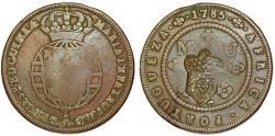 World Coins - ANGOLA as Portuguese Colony. Maria I (the Piteous), with Pedro III. (1777-1786). CU Macuta 1785/ 2 Macutas 1837. a VF