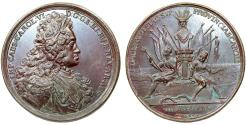 "World Coins - Imperial Austria/Serbia.  Karl VI (1711-1740). Historical AE Medail 1717 by Richter. ""Capture of Belgrade"""""