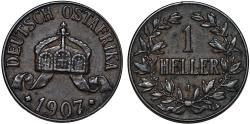 World Coins - Germany East Africa. Wihelm II. AE 1 Heller 1907 J. Choice XF, toned