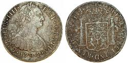 World Coins - Peru as Spanish Colony. Carlos IV (1788-1808 ). AR 8 Reales 1794 IJ. About VF, Sea salvage piece