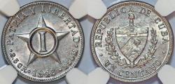 World Coins - Cuba. Republic. CuNi 1 Centavo 1946. NGC MS63