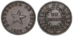 World Coins - Chile. CU 1 Centavo 1853. XF