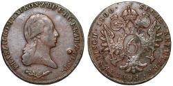 World Coins - H.R.E. Bohemia. Franz II as Emperor (1792-1806) Cu 6 Kreuzer 1800 C. Choice VF