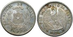 World Coins - Chile. Republic. Large Silver 1 Peso 1875. Toned UNC/AU