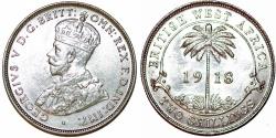 World Coins - British West Africa. George V. AR 2 Shillings 1918. Choice AU