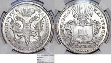 World Coins - GERMANY. CITY OF HAMBURG. SILVER 32 SCHILLINGS 1752 OKH. NGC MS65!