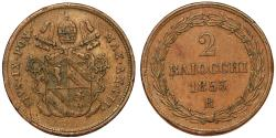 World Coins - Italy. Papal State. Pope Pius IX (1846-1878). Bronze 2 Baiocchi 1853 R. Choice VF.