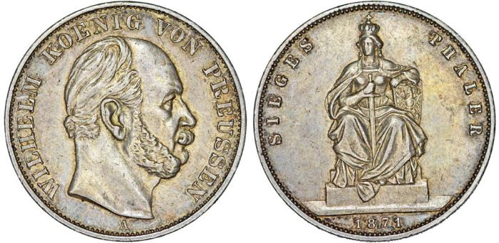World Coins - Germany. Prussia. Wilhelm I (1861-1888). AR Commemorative Thaler 1871. AU.
