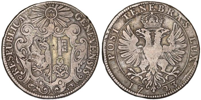 World Coins - Switzerland. City of Geneva. AR Taler 1723. VF.