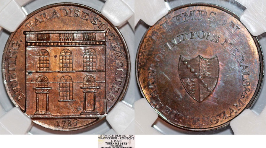 World Coins - Great Britain. Warwickshire. Kempson's Buildings. Cu Token (1790's). NGC MS64BN
