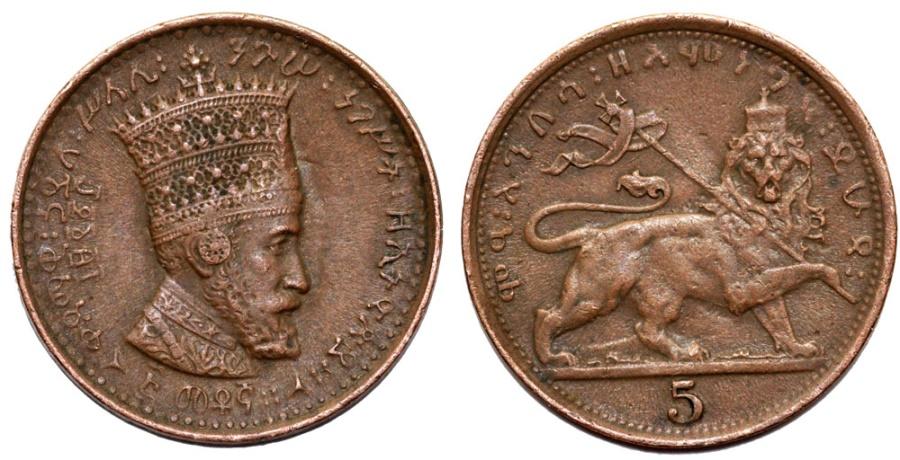 World Coins - Empire of Ethiopia. Zuditu Empress (1916-1930). Cu 5 Mantonas 1923. XF